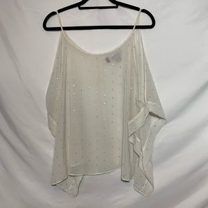 Sheer Cold Shoulder Blouse White and Gold